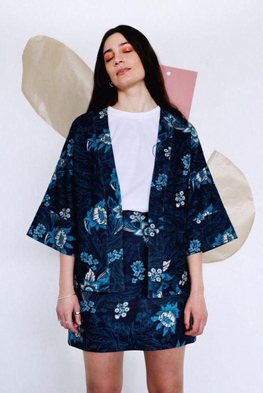 Floral Blue Organic Cotton Wide Sleeve Jacket-Birdsong-MAMOQ