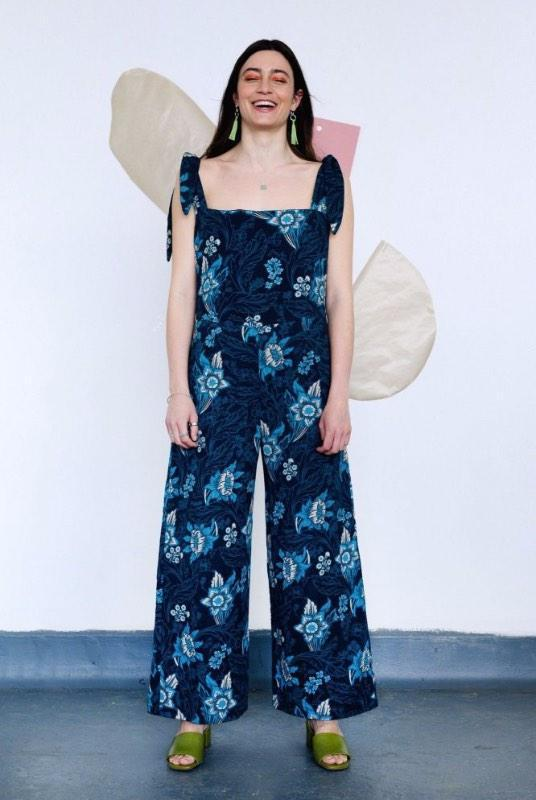 Floral Hand-Woven Organic Cotton Jumpsuit-Birdsong-MAMOQ