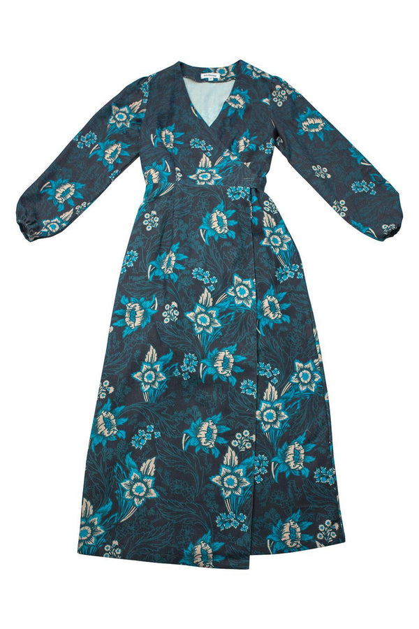 Floral Khadi Maxi Wrap Dress-CLOTHING-Birdsong-MAMOQ