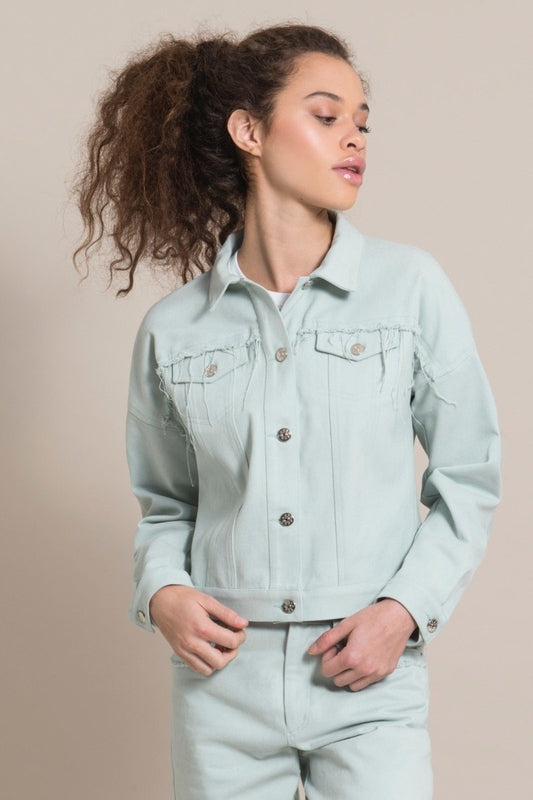 Frayed Blue Cotton Denim Jacket-blonde gone rogue-MAMOQ