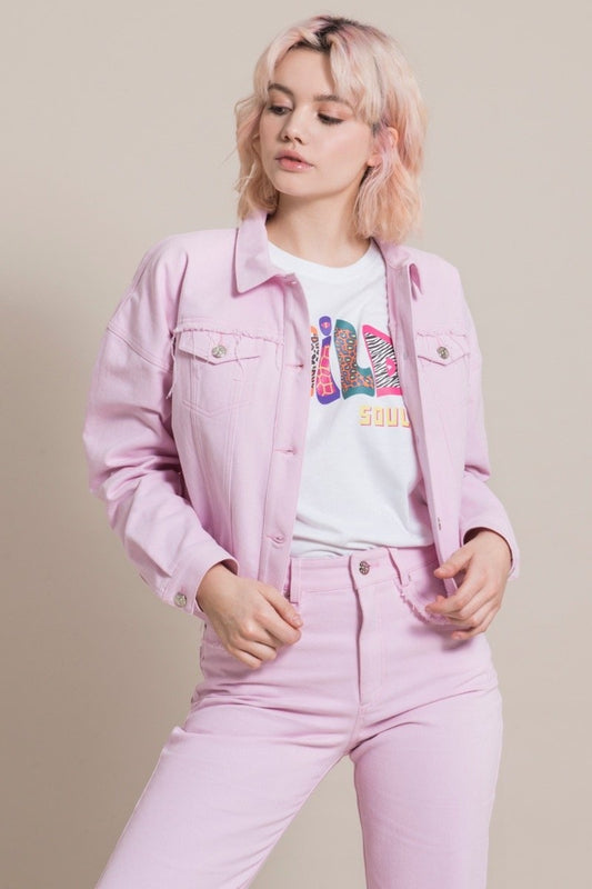 Frayed Pink Cotton Denim Jacket-blonde gone rogue-MAMOQ