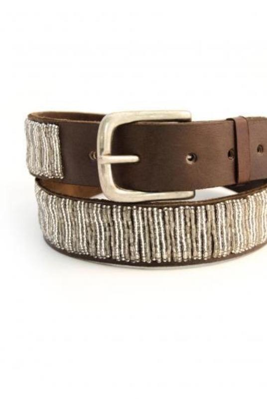 Full Silver Beaded Leather Belt-Aspiga-MAMOQ