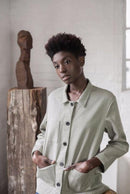 Garden Room Green Organic Cotton Denim Jacket-Veryan-MAMOQ