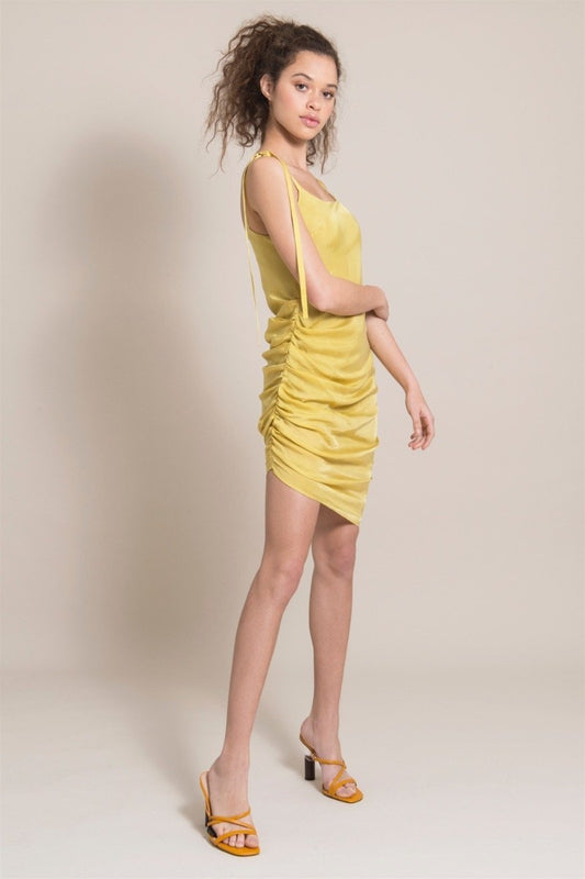 Gathered Yellow Cupro Dress-blonde gone rogue-MAMOQ