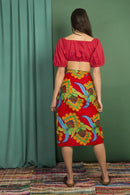 Gawa Red Carioca Cotton Wrap Over Skirt-Mayamiko-MAMOQ
