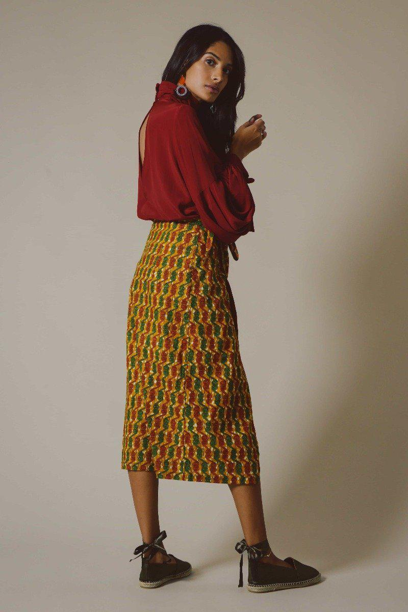 Gawa Wrap Skirt in Orange and Green Swirls-Mayamiko-MAMOQ