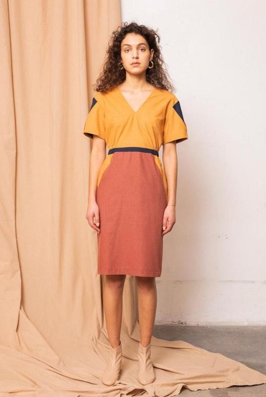Geo Desert Sun Colorblock Dress-TAUKO-MAMOQ