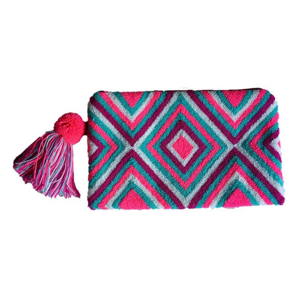 Giradota Pink Cotton Wayuu Clutch Bag-Untold Treasures-MAMOQ
