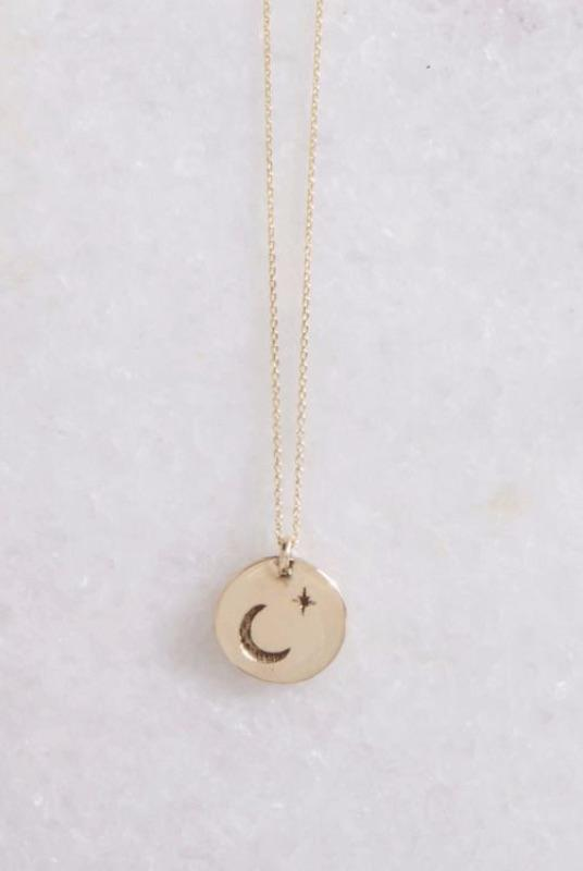 Gold Stella Lune Disc Necklace-KIND Jewellery-MAMOQ