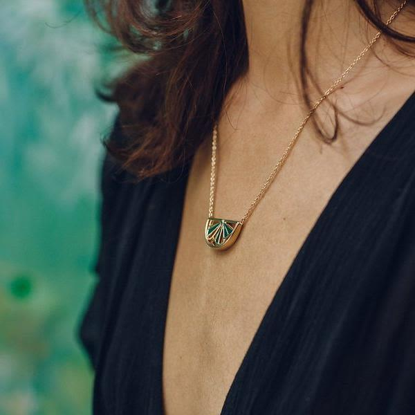 Gold Wedge Necklace-Little by Little Jewellery-MAMOQ