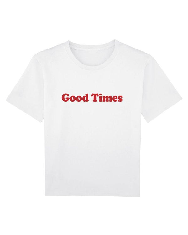 Good Times Workwear White Organic Cotton Tee-Goose Studios-MAMOQ