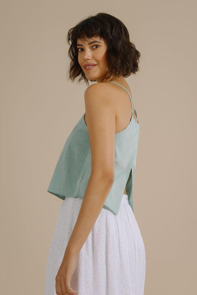 Grace Open Back Top in Organic Mint Sorbet-Mayamiko-MAMOQ