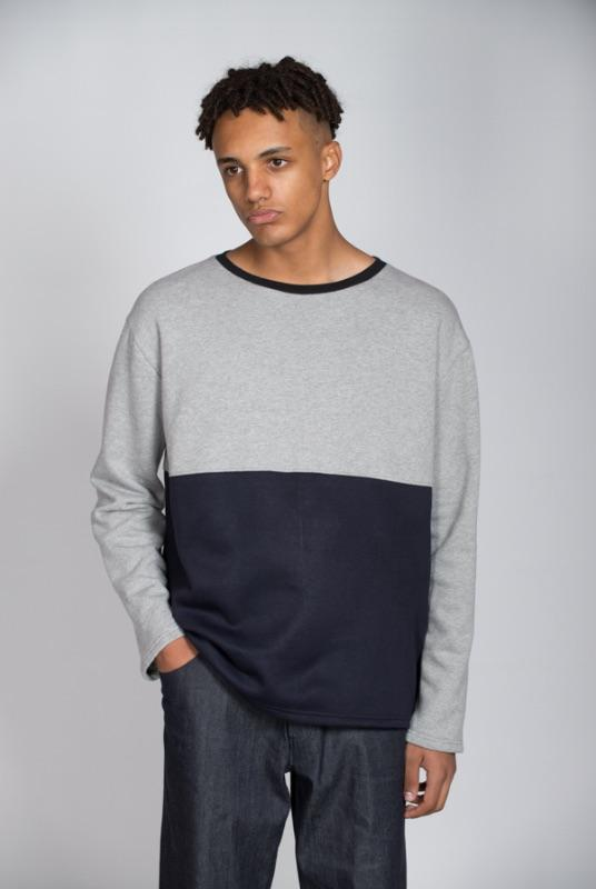 Grey & Black Colour Block Organic Cotton Sweatshirt-Rozenbroek-MAMOQ