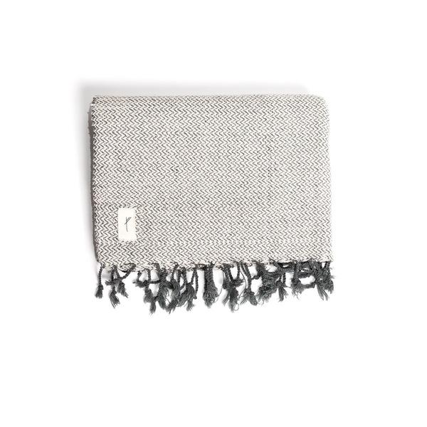 Grey & Natural White Cotton Blanket-Tale Of The Future-MAMOQ
