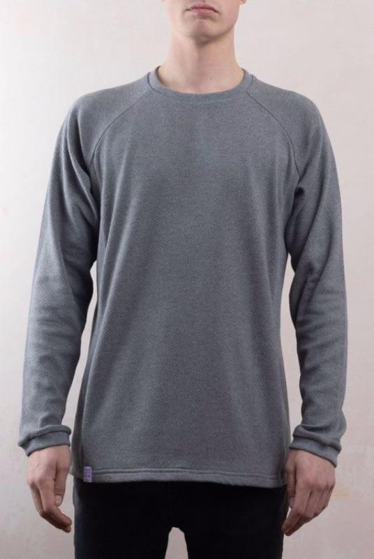 Grey Organic Cotton Texture Sweater-Lyme Terrace-MAMOQ
