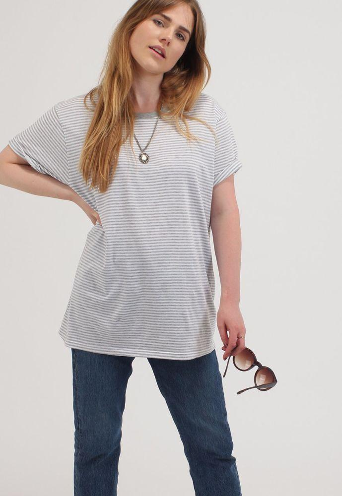 Grey Stripe Short Sleeve Organic Cotton T-Shirt-Goose Studios-MAMOQ