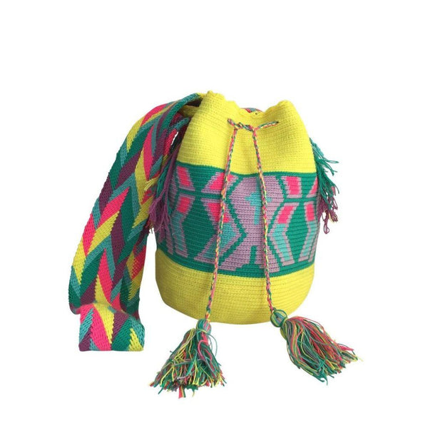 Guaviare Yellow Cotton Wayyu Mochila Bag-Untold Treasures-MAMOQ