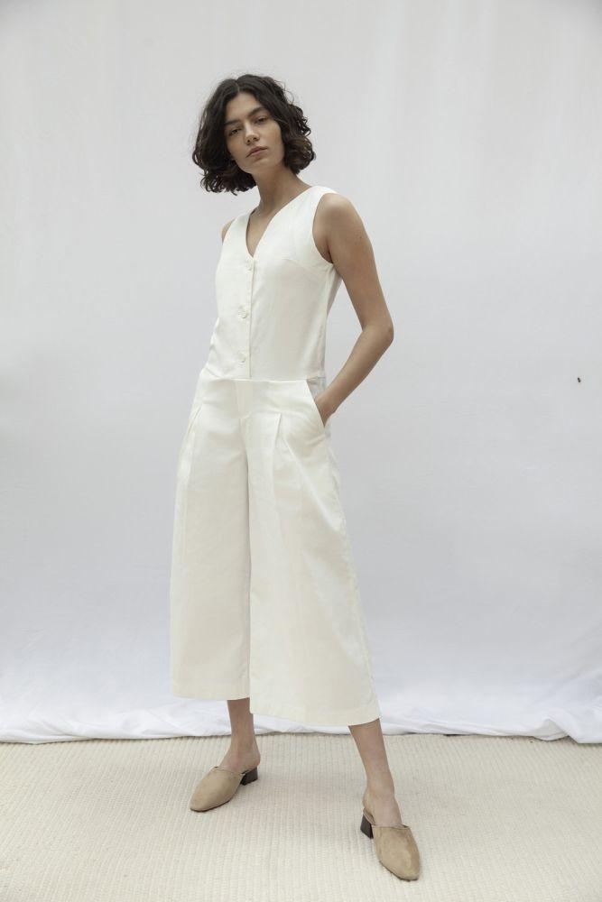 Hampstead White Organic Cotton Short Sleeve Jumpsuit-Vanesa Vinhas-MAMOQ