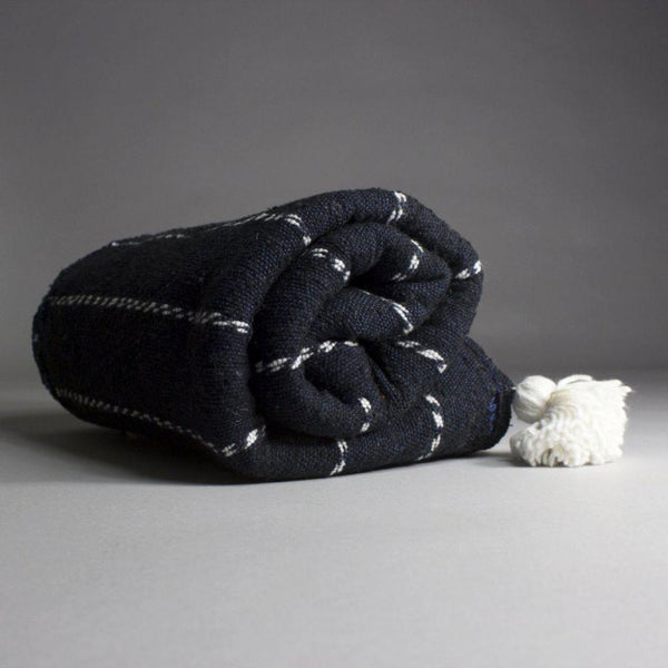 Hamza Navy Blue Cotton Moroccan Throw-Harfi-MAMOQ