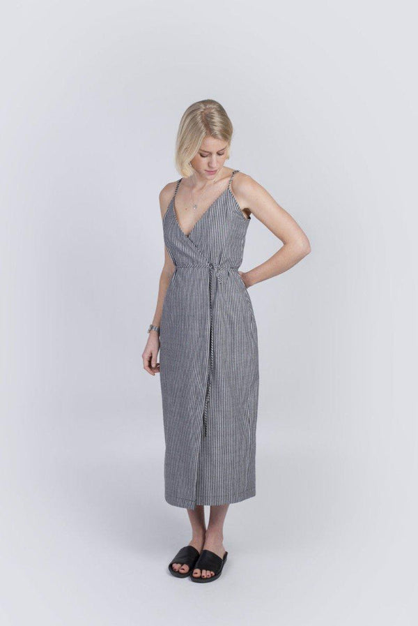 Handmade Grey Striped Organic Cotton Dress-Veryan-MAMOQ