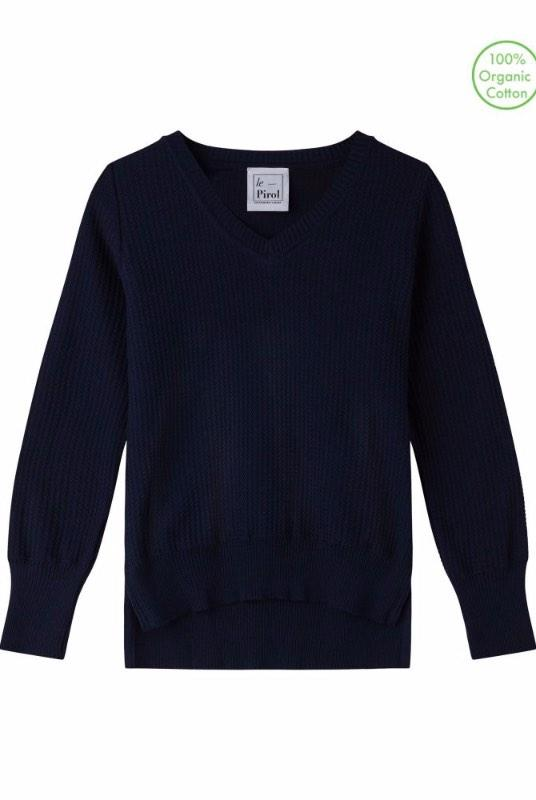 Harvest Navy Organic Cotton Jumper-Le Pirol-MAMOQ