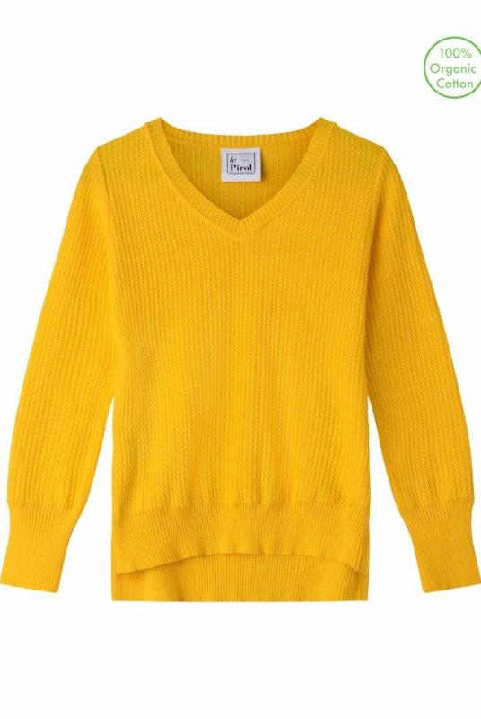 Harvest Yellow Organic Cotton Jumper-Le Pirol-MAMOQ