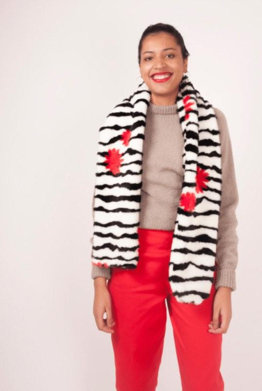 Hermes Striped Reclaimed Faux Fur Stole-Birdsong-MAMOQ