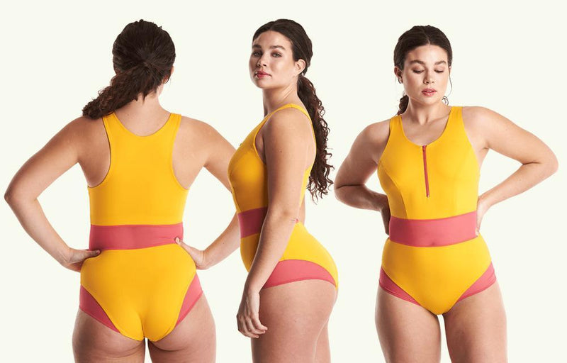 High Neck Swimsuit Mango - Monroe-Deakin and Blue-MAMOQ