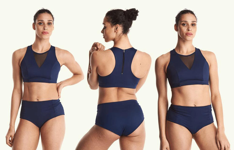 High Waisted Bikini Bottoms - Navy-Deakin and Blue-MAMOQ
