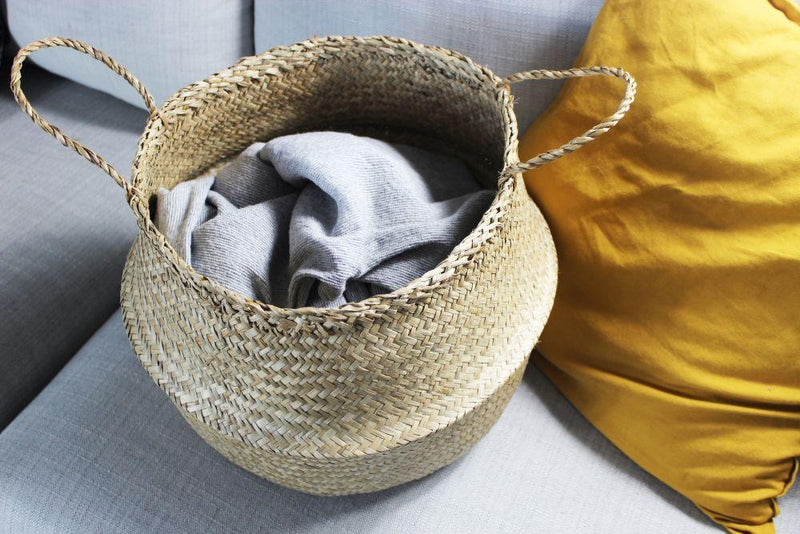 Hoa Beige Seagrass Collapsible Belly Basket-Harfi-MAMOQ