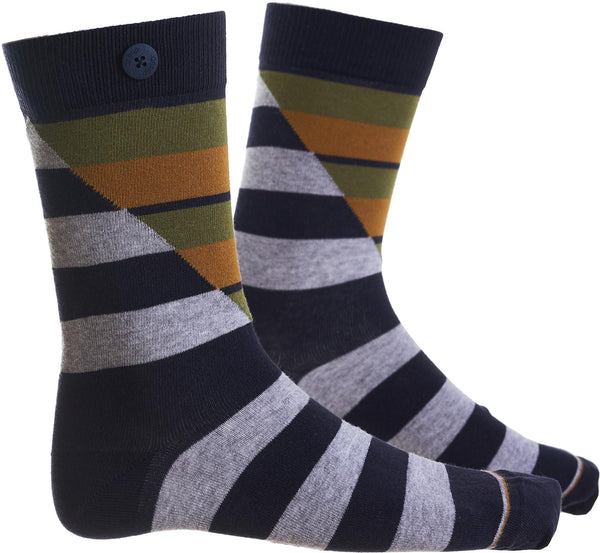 Hockney Navy/Green Organic Cotton Socks-Hockney-Qnoop-MAMOQ