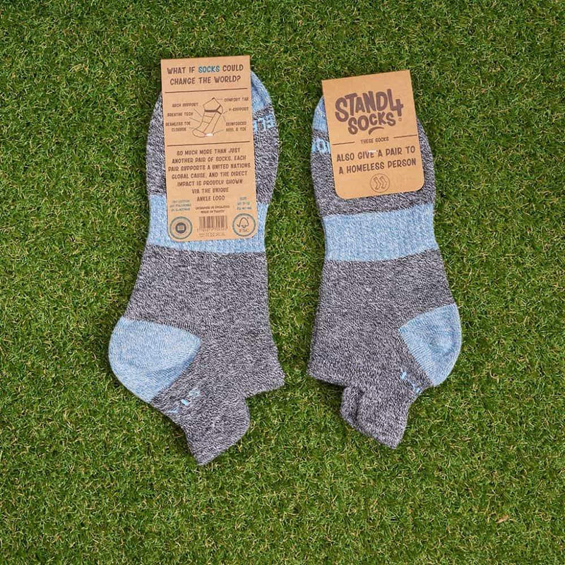 Homeless Grey Twisted Cotton Ankle Sock-Stand4 Socks-MAMOQ