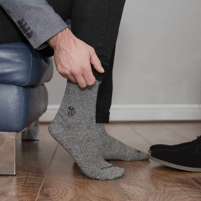 Homeless Grey Twisted Cotton Sock-Stand4 Socks-MAMOQ