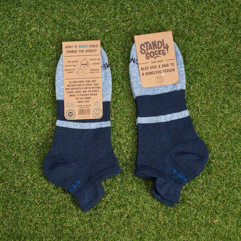 Homeless Navy Twisted Cotton Ankle Sock-Stand4 Socks-MAMOQ