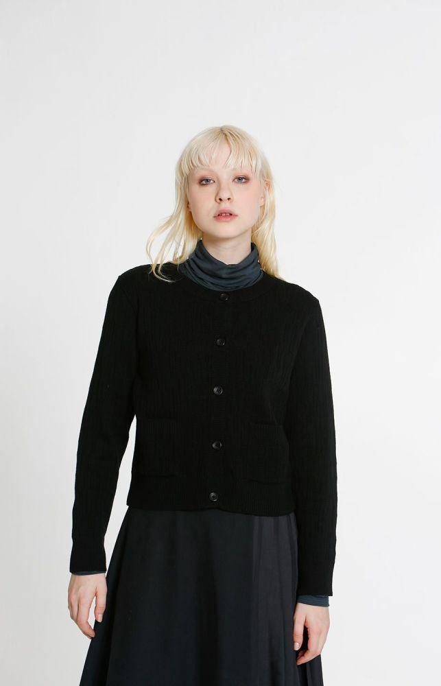 Horizon Wool Cardigan Black-TAUKO-MAMOQ