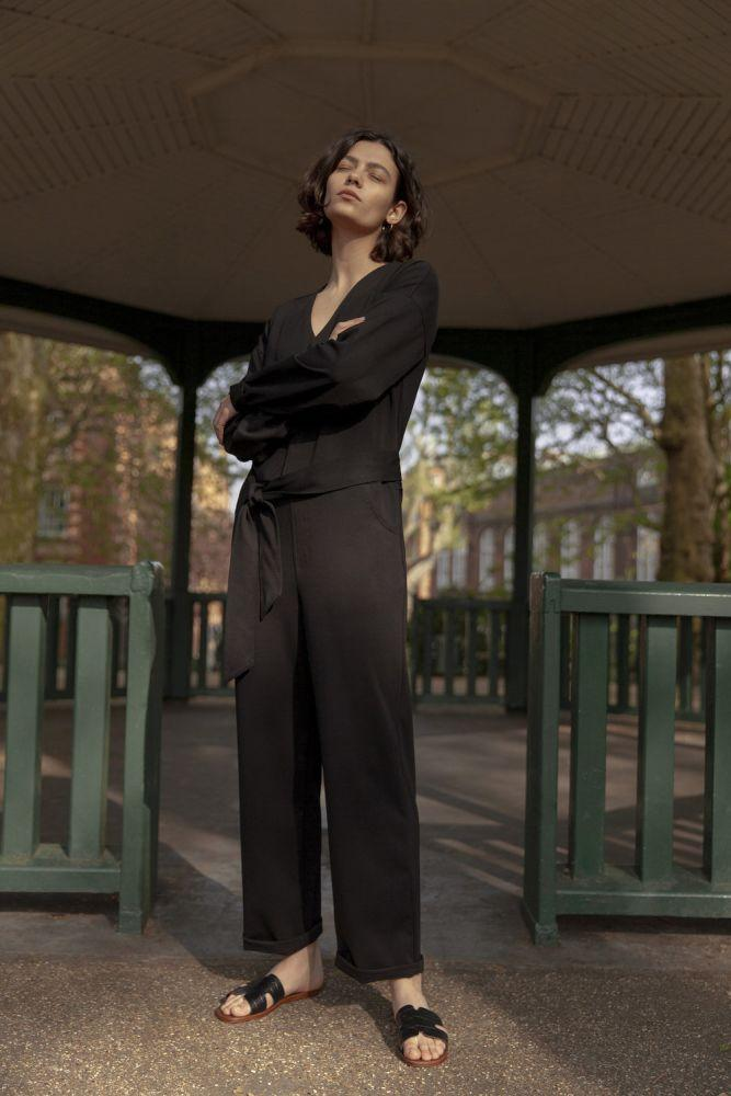 Hoxton Black Tencel Long Sleeve Jumpsuit-Vanesa Vinhas-MAMOQ