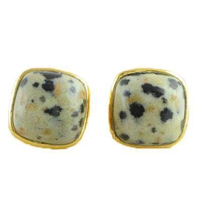 Idika Dalmatian Jasper Gold Plated Earrings-jewellery-Harfi-MAMOQ