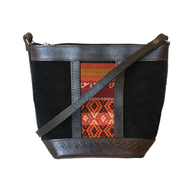 Illampu Black Patterned Natural Leather Handbag-Untold Treasures-MAMOQ