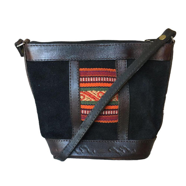 Illampu Black Striped Natural Leather HandbagIllampu Black-Untold Treasures-MAMOQ