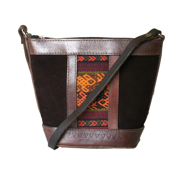 Illampu Brown Patterned Natural Leather Handbag-Untold Treasures-MAMOQ