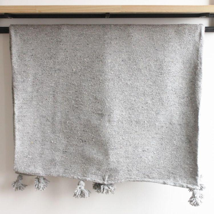 Imane Grey Cotton Moroccan Throw-Harfi-MAMOQ