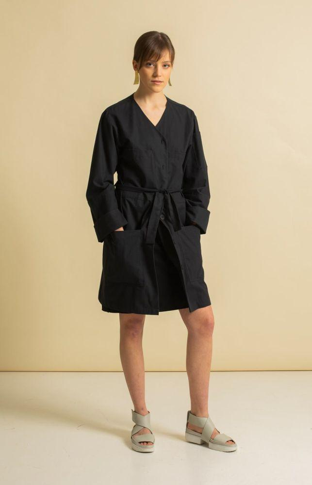Ingot Coal Black Vegan Coat-TAUKO-MAMOQ