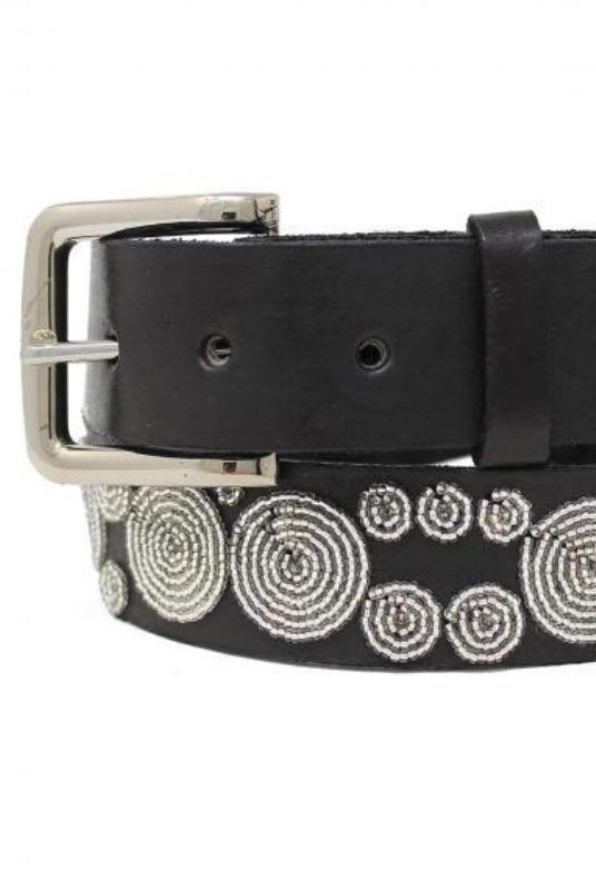Iris Silver Beaded Leather Belt-Aspiga-MAMOQ