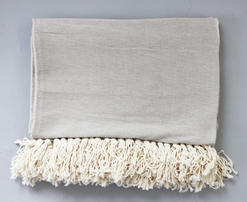 Issa Soft Beige Cotton Moroccan Throw-Harfi-MAMOQ