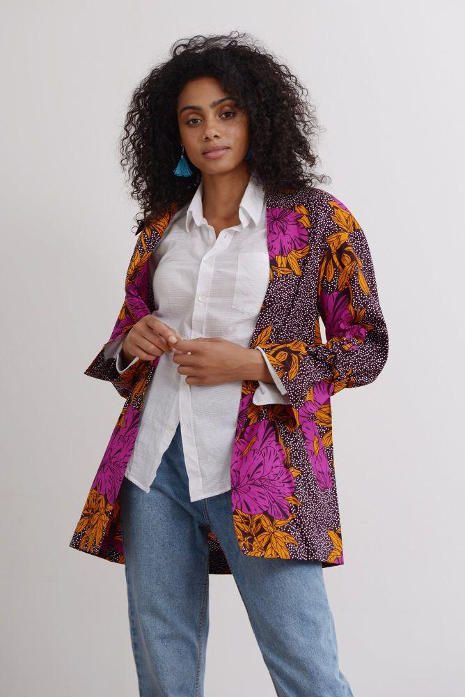 Jo Oversize Blazer in Purple Bloom-Mayamiko-MAMOQ