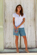 Joelle Dusty Blue Linen Shorts-Aspiga-MAMOQ