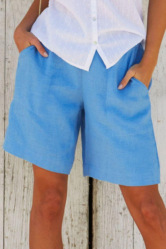 Joelle Powder Blue Linen Shorts-Aspiga-MAMOQ