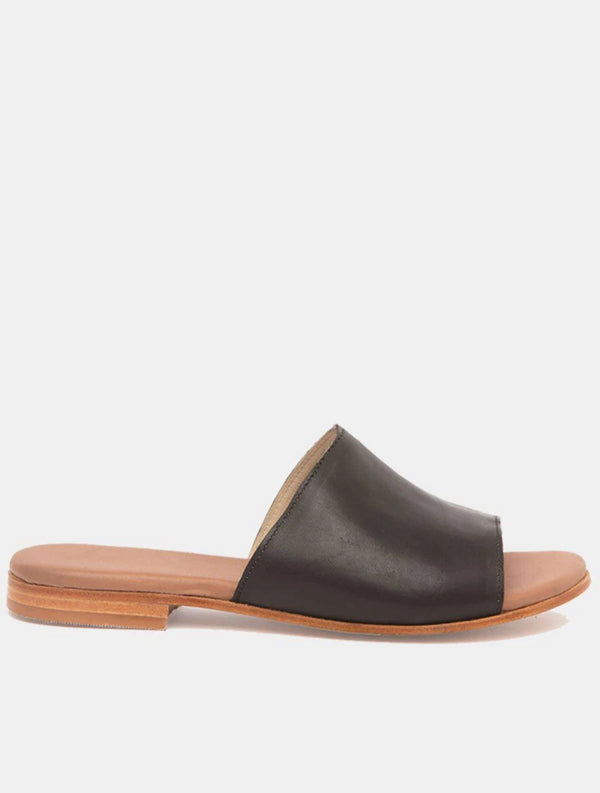 Joselin Black Leather Slipper-Sandal-CANO-MAMOQ
