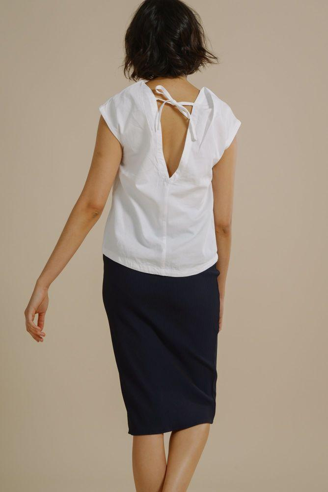 Joyce Plunge Back Shell Top in White Organic Cotton-Mayamiko-MAMOQ