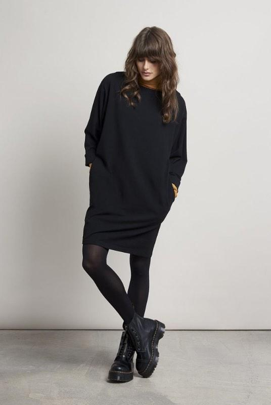 Junko Black Bamboo Mini Dress-Komodo-MAMOQ